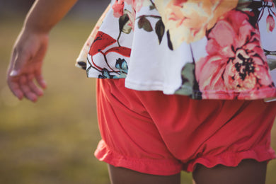 Bloomies or Ruffle Shorties (you choose)- Coral - high quality handmade kids clothes - Brooklynn & Grey