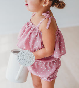 Bella Flowy Romper- Dusty rose polka dot - high quality handmade kids clothes - Brooklynn & Grey