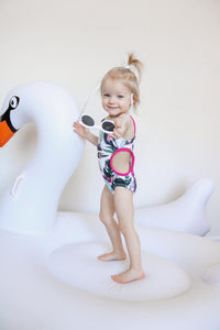One piece cut out swimsuit- Tropical Breeze - high quality handmade kids clothes - Brooklynn & Grey
