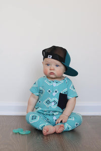 Button romper- Aztec - high quality handmade kids clothes - Brooklynn & Grey