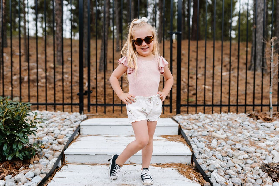 Bella high waisted shorts- Itsy bitsy floral - high quality handmade kids clothes - Brooklynn & Grey