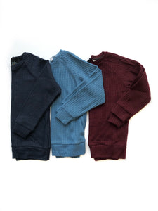 Waffle knit raglans- you choose your color