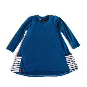 A line dress- Blue with stripe pocket