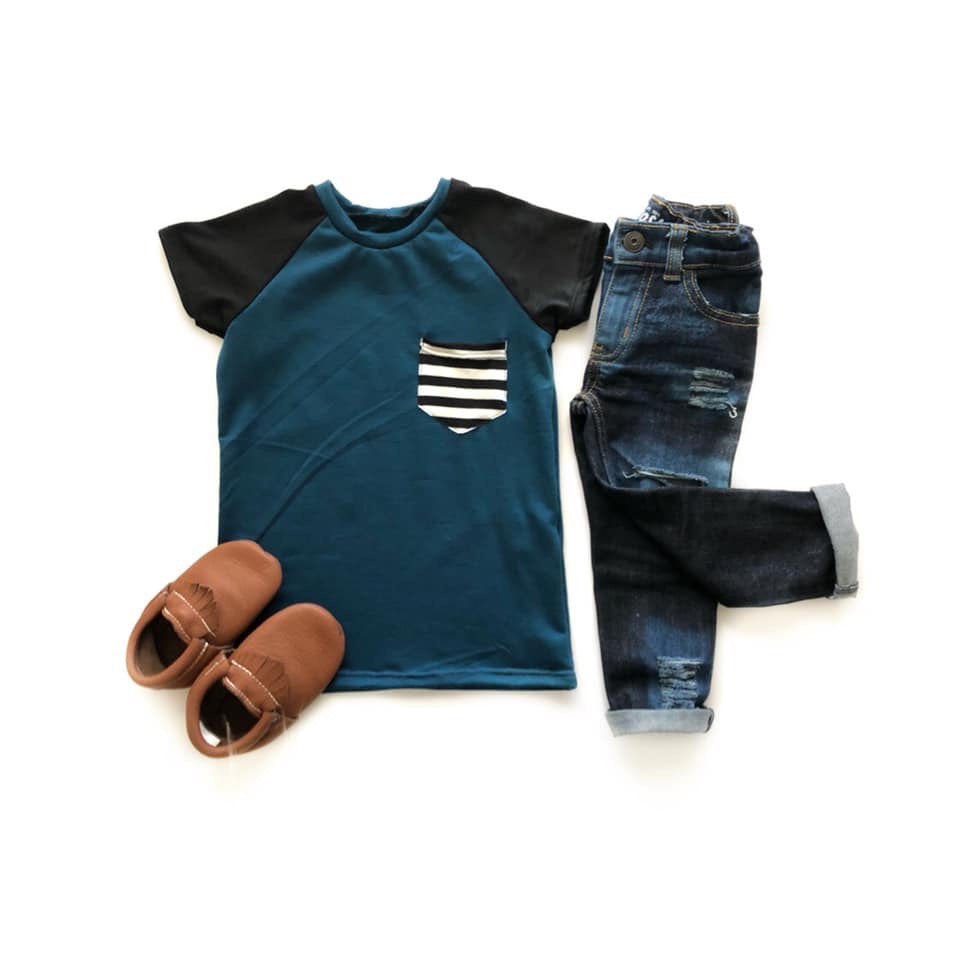 Jade striped pocket raglan tee - high quality handmade kids clothes - Brooklynn & Grey