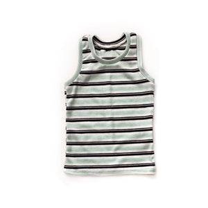 Blue/Turquoise stripe pj tank - high quality handmade kids clothes - Brooklynn & Grey