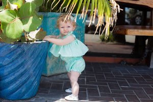 Bella Flowy Romper- Turquoise - high quality handmade kids clothes - Brooklynn & Grey