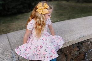 Twirl dress- Blush spring blooms