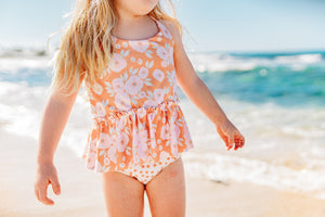 Tangerine polka dot swim bottoms - high quality handmade kids clothes - Brooklynn & Grey