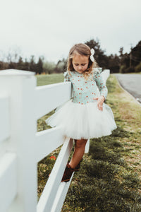 Flutter Jolie- Dainty Mint floral - high quality handmade kids clothes - Brooklynn & Grey