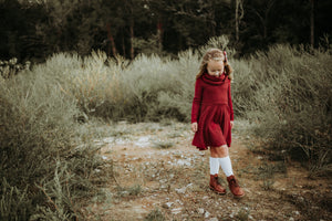 Cowl neck twirl dress- Child- Heathered Red