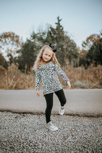 Audrey- Cowl off shoulder sweater - Child-Leopard