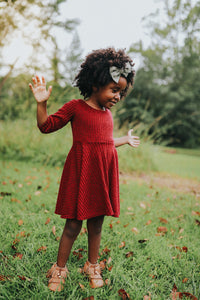 Twirl Sweater dress-Child- Heathered Red