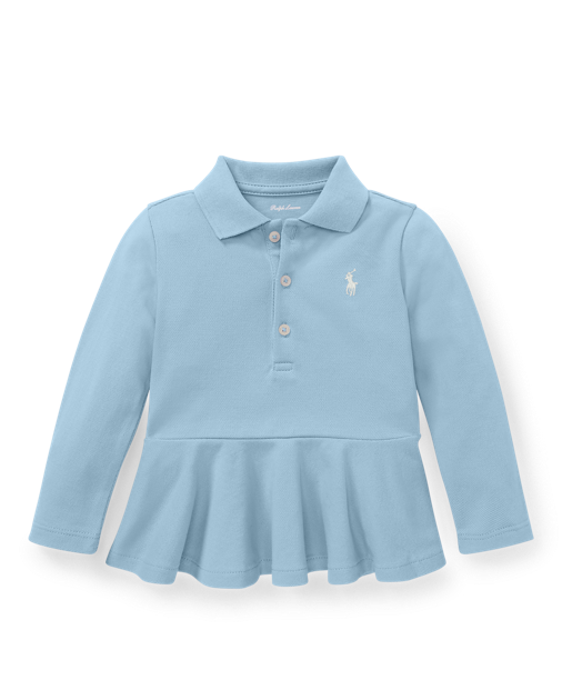 Baby Girl Ralph Lauren Cotton Mesh Peplum Polo Shirt Authentic - Discountsaleuk