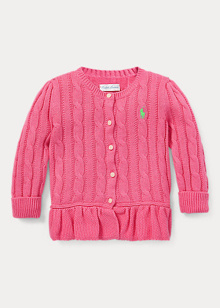 Baby Girl Ralph Lauren Cotton Peplum Cardigan - Discountsaleuk