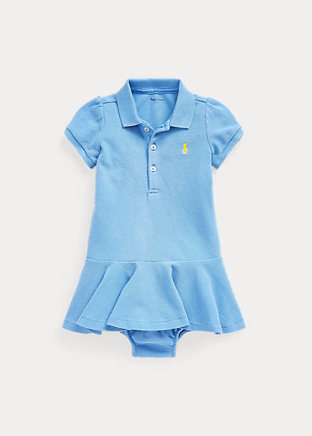 Baby Girl Ralph Lauren Stretch Cotton Mesh Polo dress Authentic - Discountsaleuk