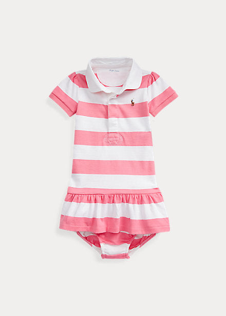 Baby Girl Ralph Lauren Striped Rugby Dress & Bloomer - Discountsaleuk