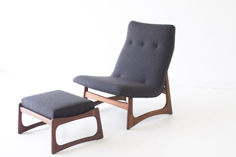 Mid Century Lounge Chair and Ottoman - 01231625