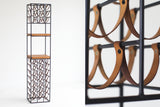 Arthur-Umanoff-Wroght-iron-leather-wine-rack-01191613-01