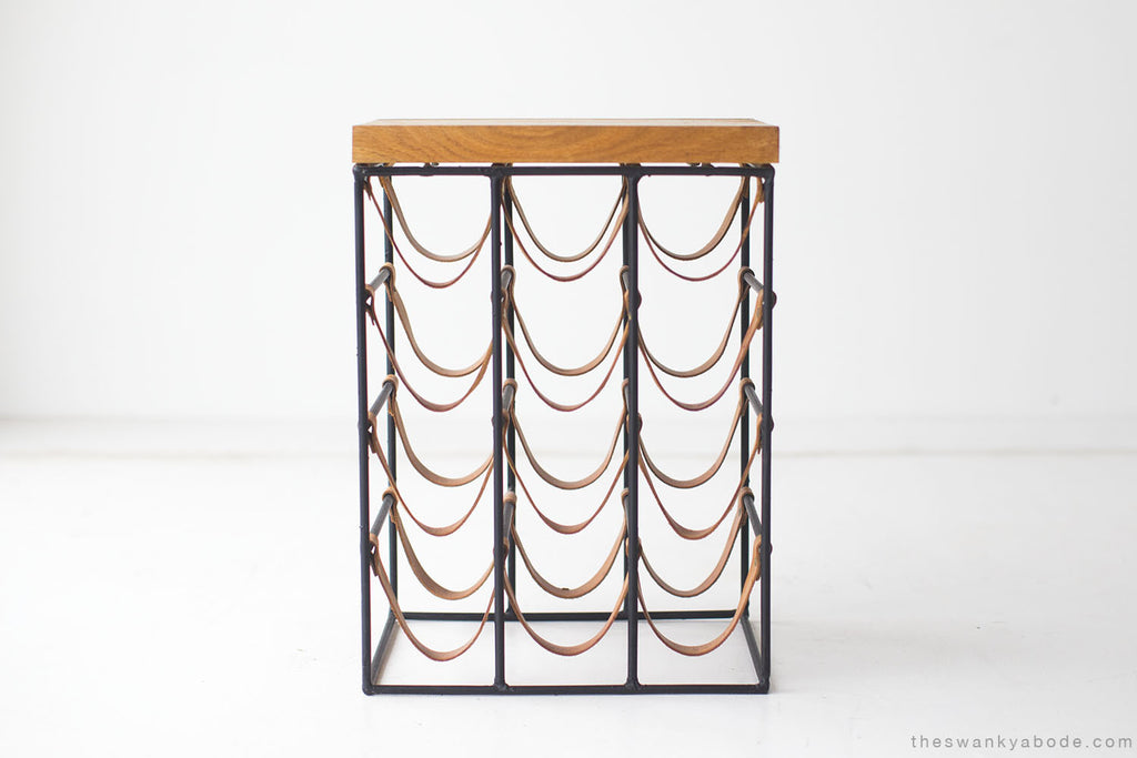 Coffee Table Wine Rack.Arthur Umanoff Wrought Iron And Leather Wine Rack 01191614