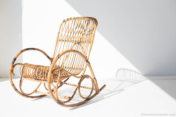 franco albini style wicker rocking chair and magazine rack - Wicker Rocking Chair