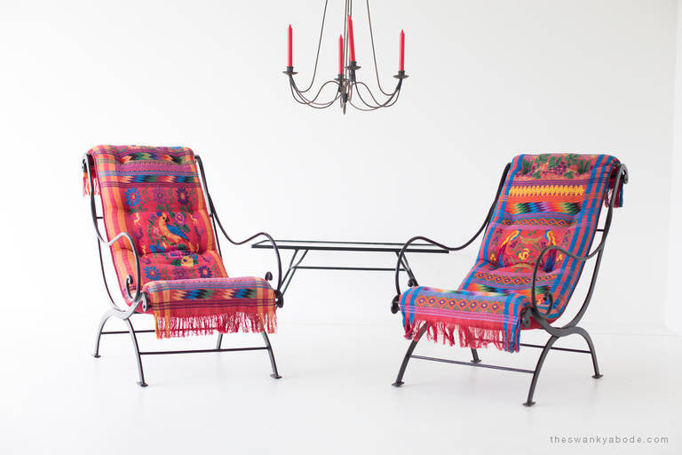 Mid Century Wrought Iron Lounge Chairs   01191609
