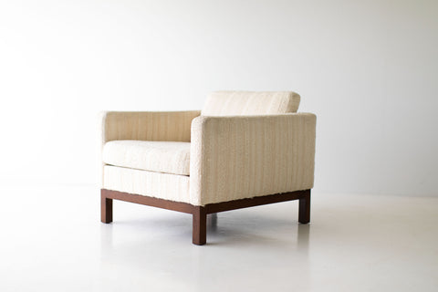 Lawrence Peabody Wicker Lounge Chairs in Leather for Craft Associates Furniture