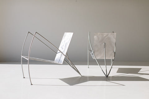 Modern Steel Studio Lounge Chairs by Stephen K Stuart - 11211802