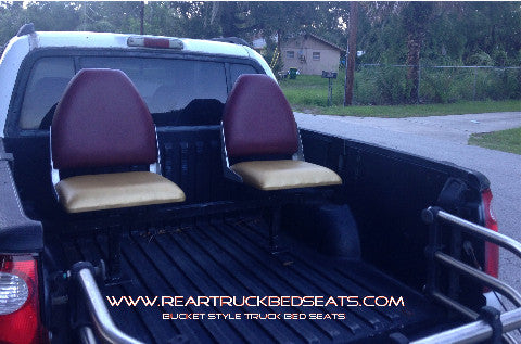 Bucket Truck Bed Seats Red and Gold