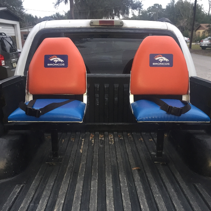 Orange and Blue Bucket Truck Bed Seats