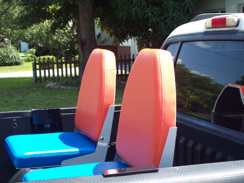 Truck Bed Seats Bucket Style Orange and Blue