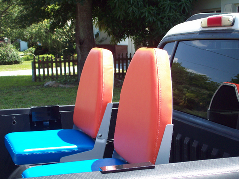 Orange and Blue Truck Bed Seats Bucket Style