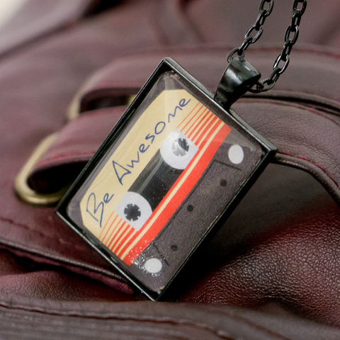 """Be Awesome Cassette"" - Cabochon Necklace"