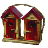 Amish Made Large His & Hers Outhouse Bird House - Amish Baskets and Beyond