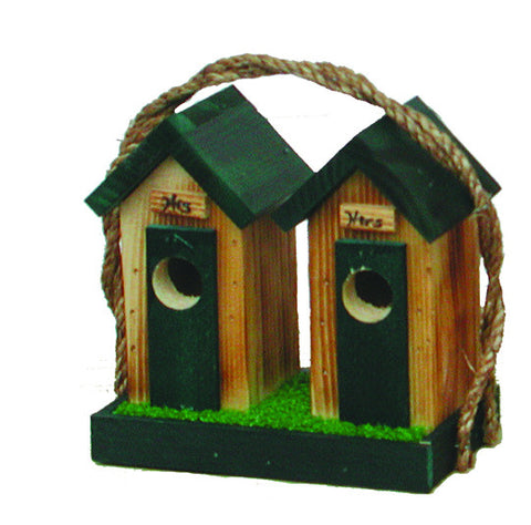 Amish Made Small His & Hers Outhouse Bird House - Amish Baskets and Beyond