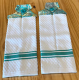 Set of 2 - Handmade Sewed Top Hanging Dish Towel - White - Turquoise Paisley - Set of 2