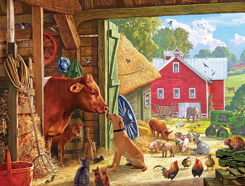 Made in the USA Jigsaw Puzzle - 550 Pc. - Barnyard Buddies - Amish Baskets and Beyond