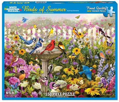 Made in the USA Jigsaw Puzzle - 550 Pc. - Birds of Summer - Amish Baskets and Beyond