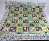 Handmade Reversible Baby Blanket - Baby Blocks - Green-Brown - Amish Baskets and Beyond
