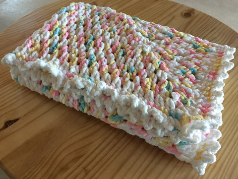 Handmade Crochet Baby Girl Blanket - Pink - White - Amish Baskets and Beyond