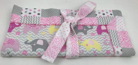 Handmade Reversible Baby Blanket - Elephants - Pink-Gray - Amish Baskets and Beyond