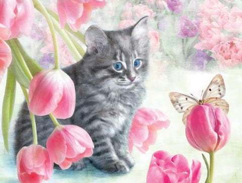 Made in the USA Jigsaw Puzzle - 300 Pc. - Cat & Tulips