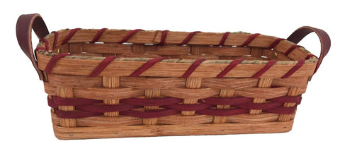 Amish Handmade Cracker Basket w/Leather Loop Carrier Handles - Amish Baskets and Beyond