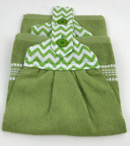 Handmade Sewed Top Hanging Dish Towels - Green - Chevron - Set of 2 - Amish Baskets and Beyond