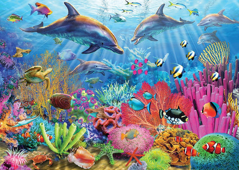 Made in the USA Jigsaw Puzzle - 100 Pc. - Dolphin Coral Reef - Amish Baskets and Beyond