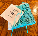 Handmade Crochet Dish Cloths - Turquoise-White - Set of 2 - Amish Baskets and Beyond