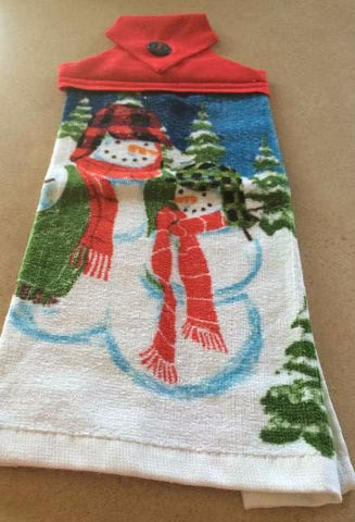 Handmade Christmas Hanging Dish Towel - Snowmen - Red Top - Amish Baskets and Beyond