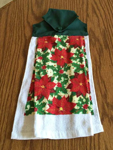 Amish Made Christmas Hanging Dish Towel with Poinsettias - Green Top - Amish Baskets and Beyond