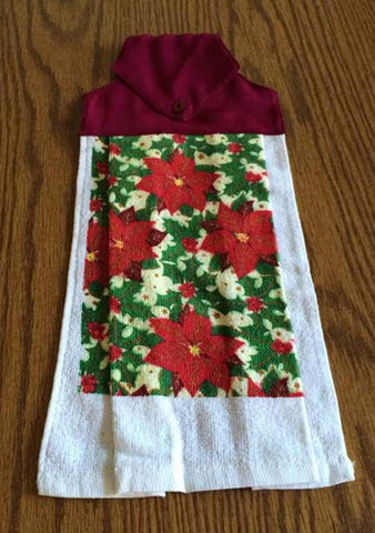 Amish Made Christmas Hanging Dish Towel with Poinsettias - Burgundy Top - Amish Baskets and Beyond