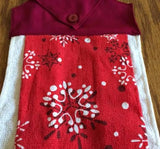 Amish Made Christmas Hanging Dish Towel with Snowflakes Pattern- Burgundy Top - Amish Baskets and Beyond