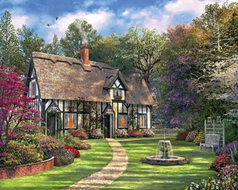 Made in the USA Jigsaw Puzzle - 550 Pc. - Hideaway Cottage - Amish Baskets and Beyond